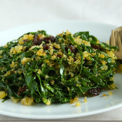 Sauteed Collar Greens With Panko And Raisins