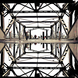 The Bridge by Jomy Jose - Abstract Patterns ( reflection, black and white, auckland, bridge, new zealand )
