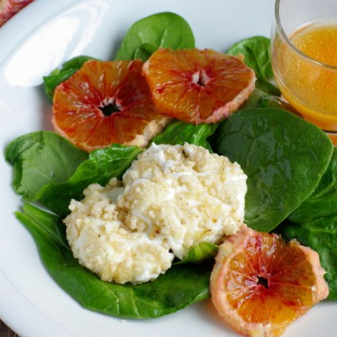 Spinach Orange Salad With Nut Crusted Goat's Cheese