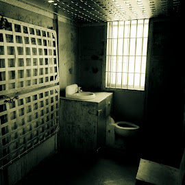 2man cell by Jim Oakes - Buildings & Architecture Public & Historical ( building, black and white, jail, steel, historic )