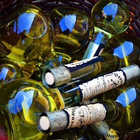 Reflections by Marco Bertamé - Artistic Objects Glass ( reflection, blue, yellow, bottles )