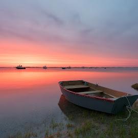 Morning Glow by Steve Morrison - Landscapes Sunsets & Sunrises ( orleans, reflection, nauset harbor, sunrise, boat, cape cod )