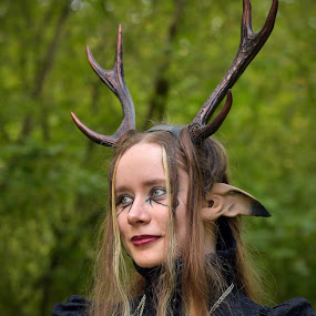 Human Or Deer ? by Marco Bertamé - People Portraits of Women ( horns, ear, collard, floriane, long, steampunk, hair )