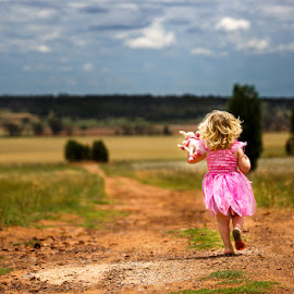 The long road home by Peter Hutchison - Babies & Children Children Candids ( child, princess, toy, candid, landscape )