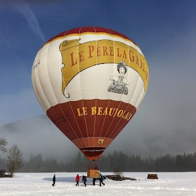 by Lucy Findlay - Instagram & Mobile iPhone ( hot air balloon winter snow transport )