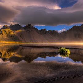 Vestrahorn by Rune Askeland - Landscapes Mountains & Hills ( mountains, iceland, stokksnes, vestrahorn, reflections, sunrise, mist )