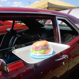 Curb Service Anyone by David Jarrard - Food & Drink Meats & Cheeses ( shoneys, big boy, antique cars, curb service, hamburger )