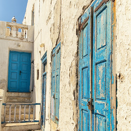 Blue Doors by Dan Herman - Buildings & Architecture Decaying & Abandoned ( venice district, blue doors, mykonos, greece )
