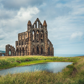 Remains by Darrell Evans - Buildings & Architecture Public & Historical ( water, clouds, augustinian monastery, old, building, remains, grass, priory, green, stone, whitby abbey, whitby, landscape, augustinian, sky, yorkshire, outdoor, monastery, abbey )