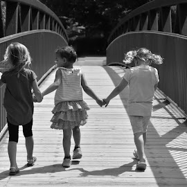 3 little Darlings  by Debbie Johnson MacArthur - Black & White Street & Candid