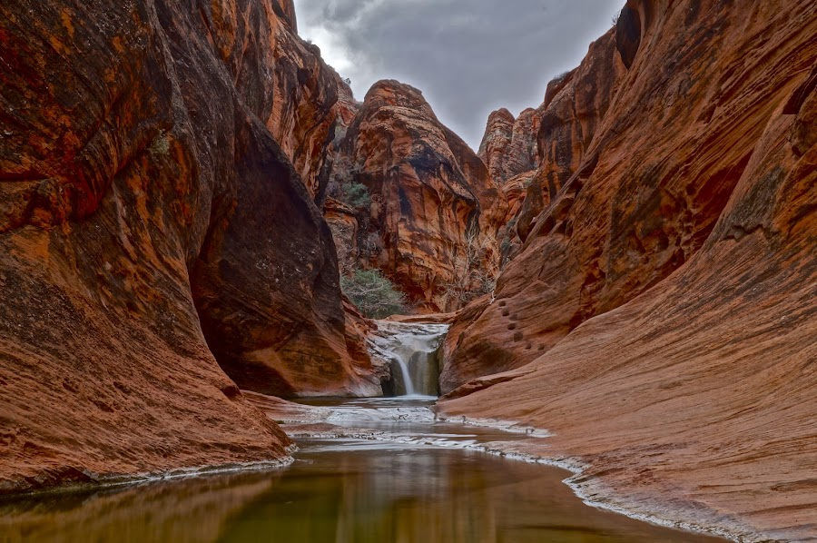 Red Cliffs Reserve by Jordan Wangsgard - Landscapes Waterscapes ( water, hdr, waterfall, sandstone, canyon, rock, overcast, flow, photography, dslr, sony, south west, southern, nature, utah, red rock, revisited, long exposure, slot, a57 )