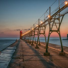 Michigan Lighthouse by Amy Ann - Buildings & Architecture Bridges & Suspended Structures ( sky, lighthouse, michigan, sunset, water, lake )