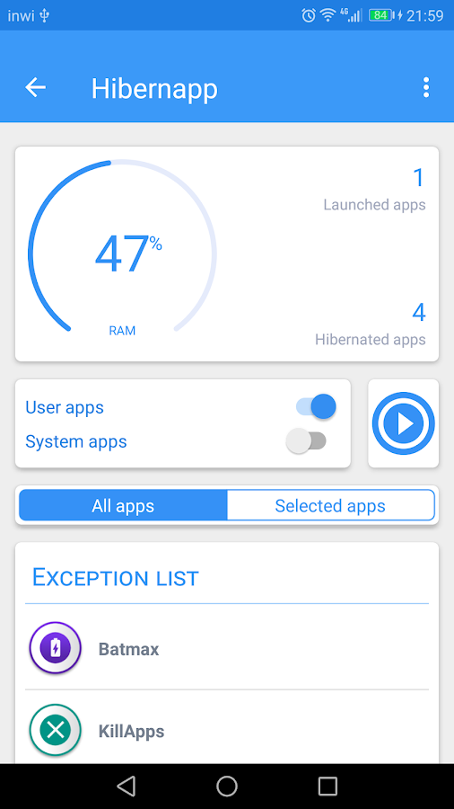 Hibernapp -  Hibernate apps & Save battery Screenshot 0