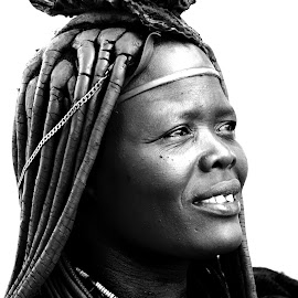 Himba at Epupa Falls in Namibia by Lorraine Bettex - Black & White Portraits & People