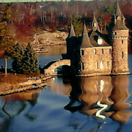 Castle Reflections by Amber Thomas - Buildings & Architecture Other Exteriors ( water, reflection, trees, castle, bridge )