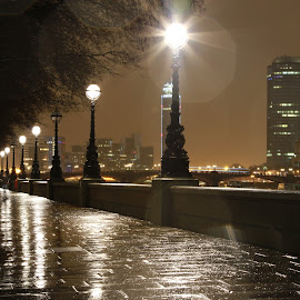 london embankment by Peter Salmon - City,  Street & Park  Night ( london, street, rain on lens, night, rain )