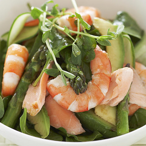 Asparagus, Salmon, Shrimp and Spinach Salad