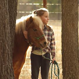 Hug me by Giselle Pierce - Babies & Children Children Candids ( miniature horse, little girl, friends, girl, horse, gelding )