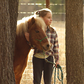 Hug me by Giselle Pierce - Babies & Children Children Candids ( miniature horse, little girl, friends, girl, horse, gelding )