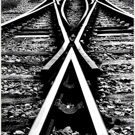 by Shaun Healey - Transportation Railway Tracks ( black and white, perspective, tracks, points )