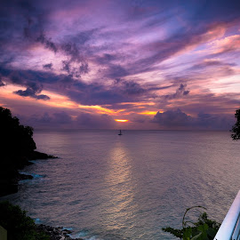 Sunset in Saint Lucia by Jëff Mürray - Landscapes Travel ( sunset, caribbean )