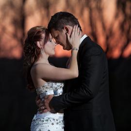 African Sunset by Lodewyk W Goosen-Photography - Wedding Bride & Groom ( love, weddings, wedding, couple, bride and groom, marriage )