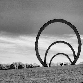 3 Rings Inside by Harvey Lindenbaum - Black & White Buildings & Architecture ( sculpture, north carolina museum of art )