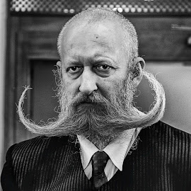 Really, must you? by Donald Ogg - People Portraits of Men ( vienna, stare, black white, moustache, concierge )