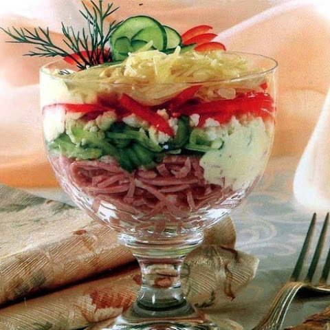 Salad Cocktail With Ham And Cheese