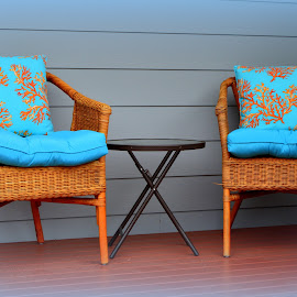 Comfort On the Front Deck by Becky Luschei - Artistic Objects Furniture ( wicker, waits, chairs, folding table, 'beachy', comfort, visitors, cushions, front, table, deck )