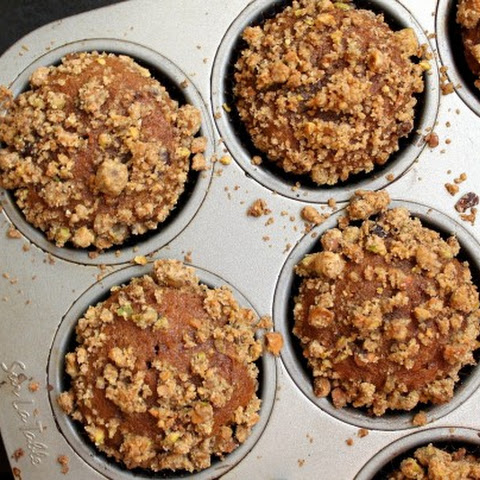 Pumpkin, Chocolate Chip, and Pistachio Crumb Muffins