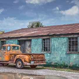 Days Gone By by Debbie Duggar - Transportation Automobiles ( reflection, truck, rusted, old building, chevy,  )