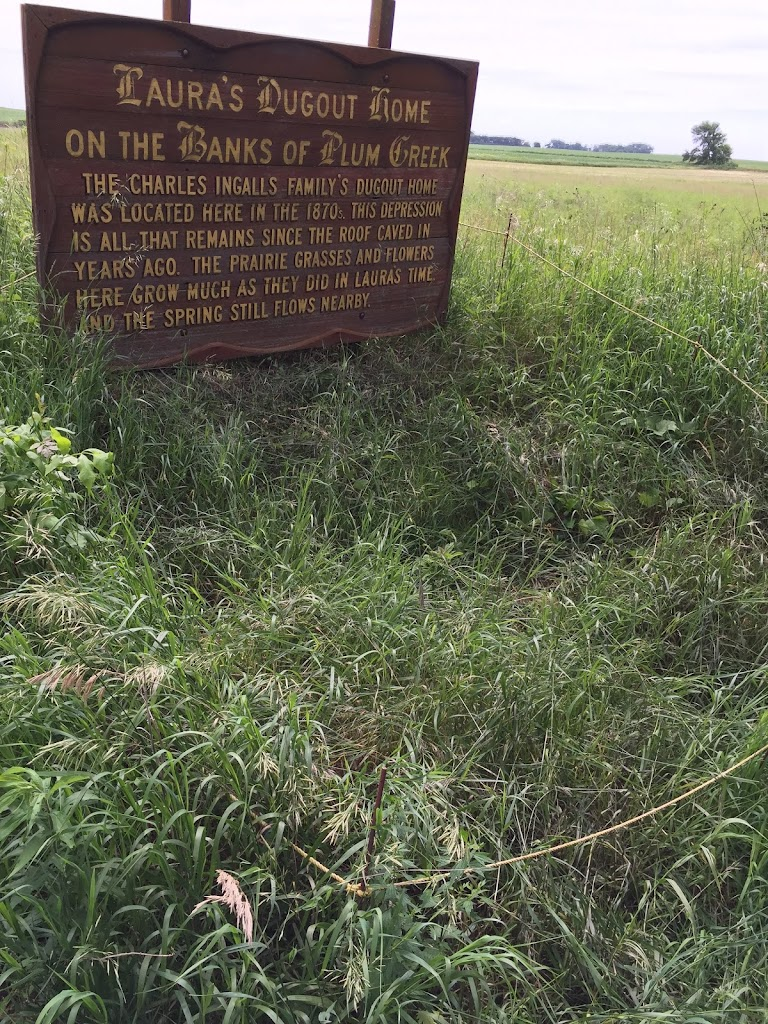 Sign at the site of Laura Ingalls Wilder's Plum Creek dugout: