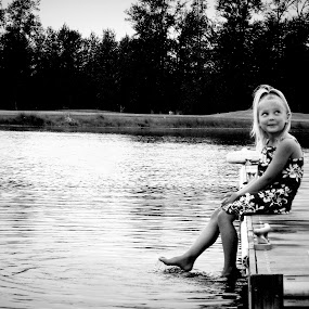 Youthful Inocence by Cassidy Meade - Babies & Children Child Portraits ( clear, water, child, black and white, dress, children, lake, portrait,  )