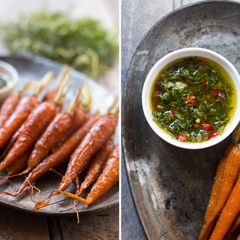 Honey Ginger Roasted Carrots with Carrot Greens Chimichurri