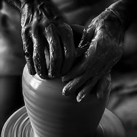 Playing by Abdul Rehman - Artistic Objects Other Objects ( clay, natural light, potter, pottery, wet, natural, light, pot )