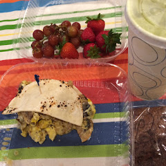 Udis tortilla: mushrooms onions egg and Swiss. Side of fruit. Green smoothie (kale, spinach, orange