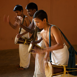 drummers in training by Mike Mulligan - People Musicians & Entertainers ( school, indoors, india, drummers, slow shutter,  )
