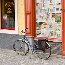 Coffee Time by Art Blum - Transportation Bicycles ( shop, window, coffee, bruges, papers, belgium, west flanders, delivery, cobblestone, bicycle,  )