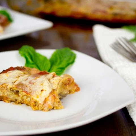 "Grain Free Lasagna with White Bean ""Ricotta"" and Pumpkin Seed Pesto"