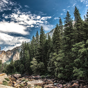 Yosemite Valley by Abhay Sharma - Landscapes Mountains & Hills ( clouds, mountains, ca, hdr, yosemite, california, waterfall, travel, sierra, landscape, rocks )