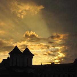 Sunrise of July by Cosmin Tomescu - City,  Street & Park  Skylines ( church, sunrays, sunrise, birds, nikkor ai,  )
