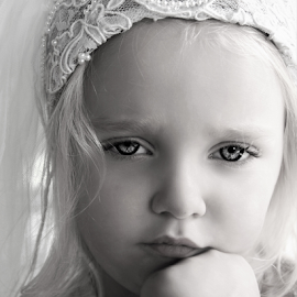 Reluctant Princess Bride B&W by Cheryl Korotky - Black & White Portraits & People