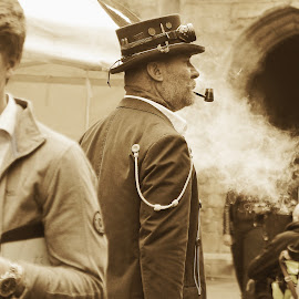 the pipe by Kathleen Devai - People Street & Candids ( sepia, lincolnasylum, steampunk, smoke, pipe )