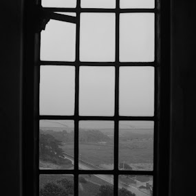 Another dull day by Alex Nicholson - Black & White Landscapes ( old, england, window, black and white, landscape )