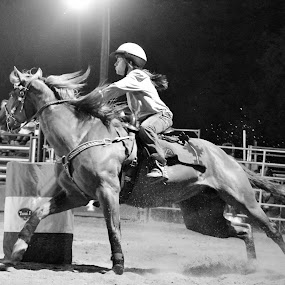 Turn and Burn by Brian  Shoemaker  - Black & White Sports ( barrels, can chasing, rodeo, chasing dreams, cowgirl )
