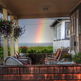 Looking thru the porch  by Ann Goldman - Novices Only Objects & Still Life ( ocean, beach, hull, porch, rainbow, rain )