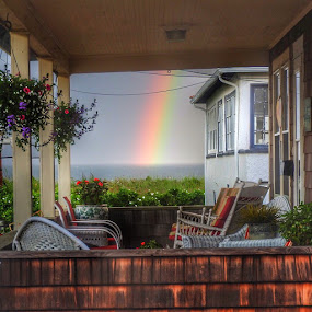 Looking thru the porch  by Ann Goldman - Novices Only Objects & Still Life ( ocean, beach, hull, porch, rainbow, rain,  )