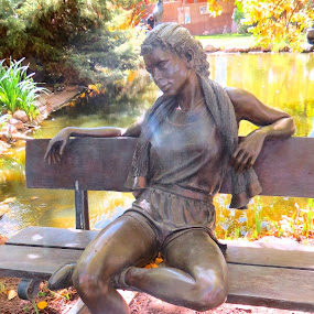 Nike Girl by George Lundeen by Rita Goebert - Artistic Objects Other Objects ( santa fe; new mexico; art; sculptures; gardens; george lundeen; free galleries,  )
