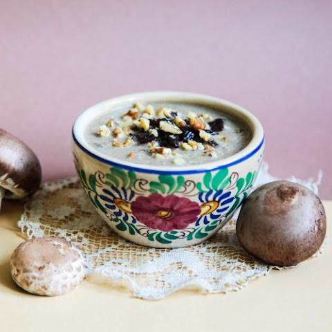 Mushroom Cream Soup with Walnuts and Caramelized Onions